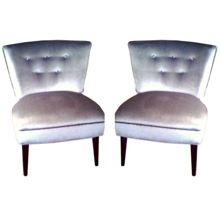Pair Upholstered 1950 S Chairs At 1stdibs