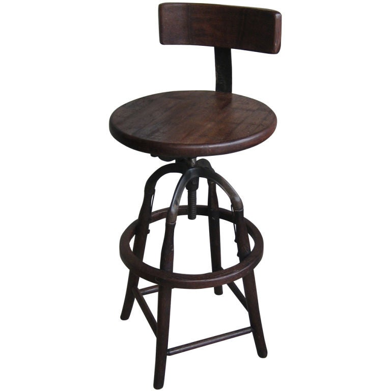 Bar Stool With Backrest At 1stdibs