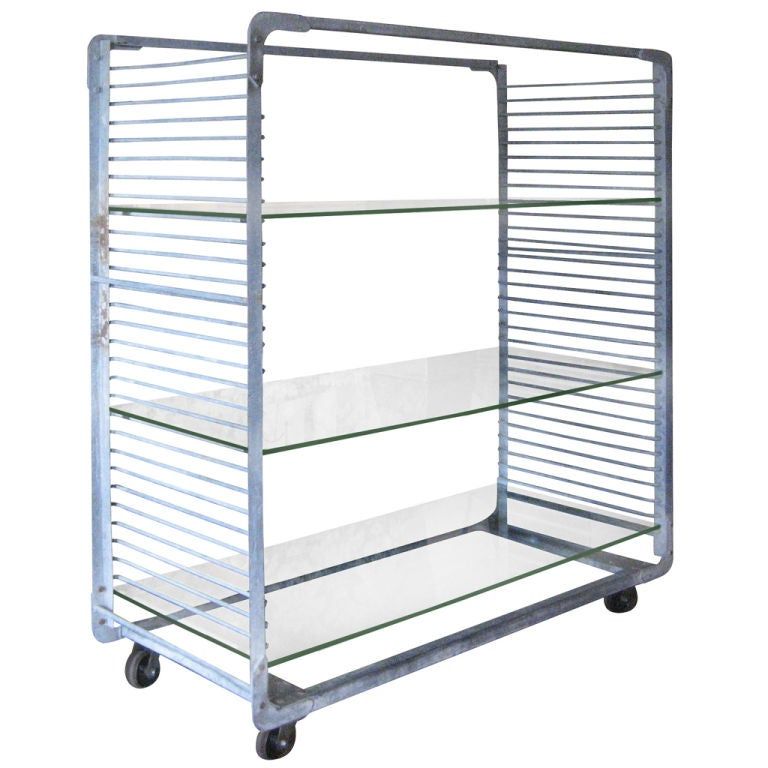 Industrial Storage Rack With Glass Shelves At 1stdibs
