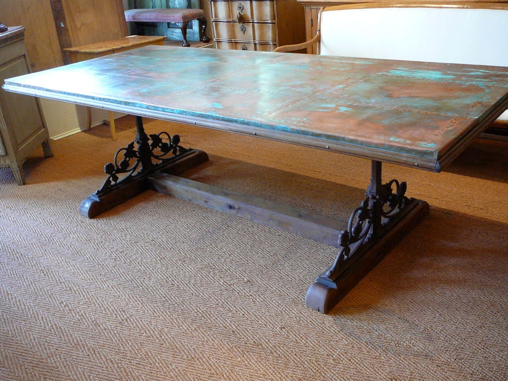 Unusual Copper Iron And Wood Dining Table Trestle Base Made Of Poplar Incorporating Irish