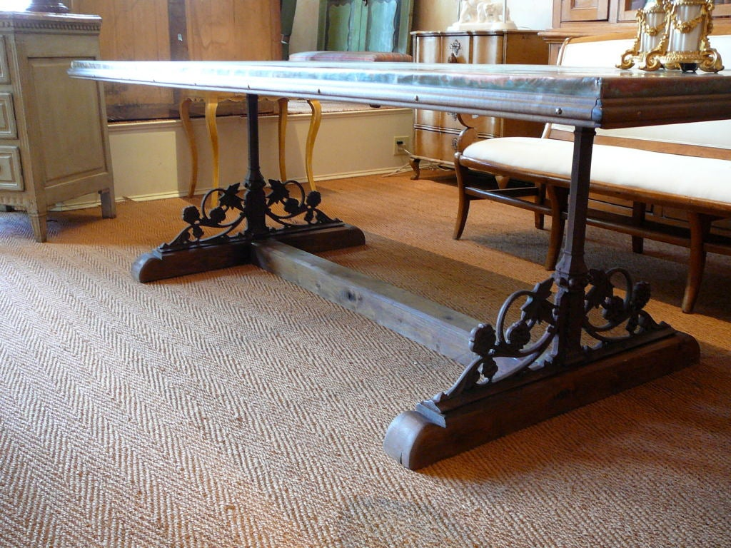 unusual copper iron and wood dining table at 1stdibs. Black Bedroom Furniture Sets. Home Design Ideas