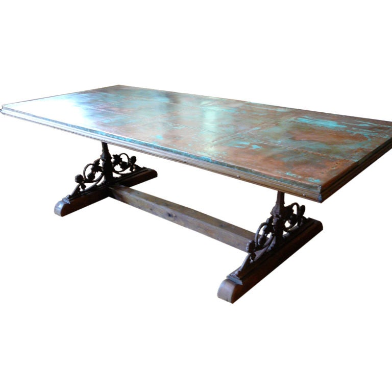 Unusual Copper Iron And Wood Dining Table For Sale