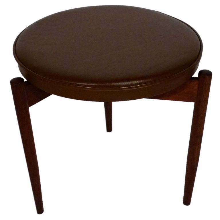 Jens Risom Leather Stool At 1stdibs