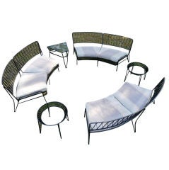RARE LARGE SEATING GROUP SET AND TABLES BY SALTERINI