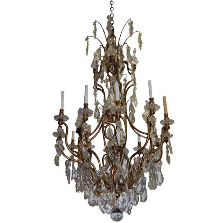 12 Light Louis Xv Chandelier With Original Crystal Trim At
