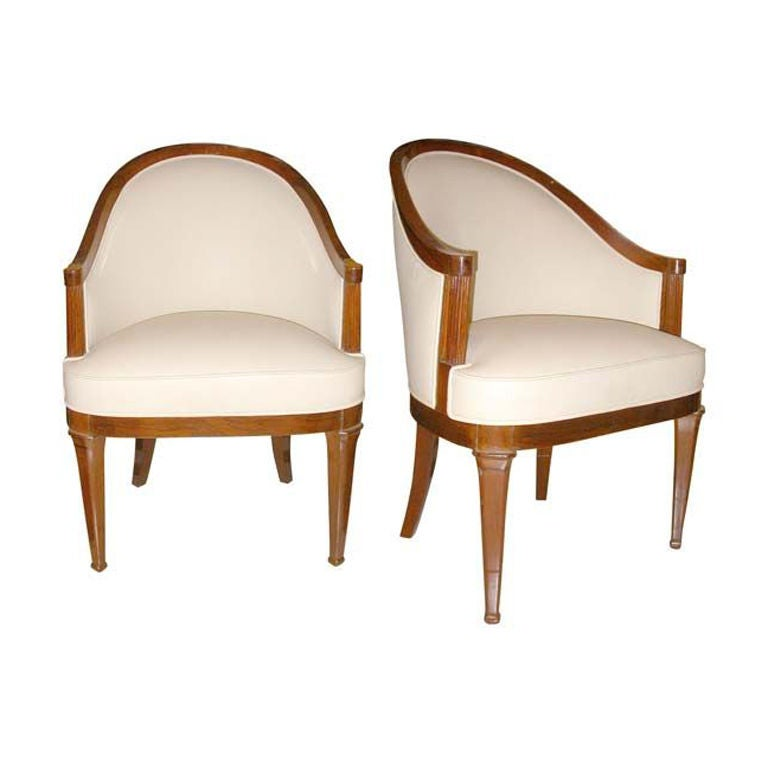 Pair of Ivory Leather and Walnut Chairs Attr. to Lucien Rollin