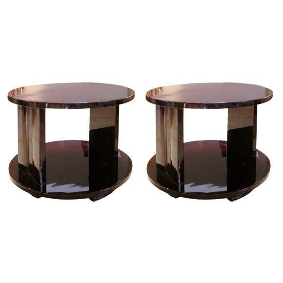 Round Coffee Table Pair: Pair Of Two Tier Round End-Coffee Tables At 1stdibs