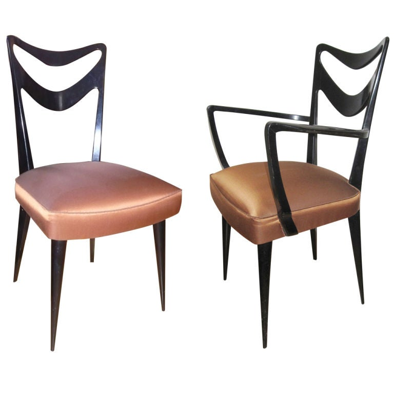 Set of 2 armchairs and 4 chairs by Ico Parisi