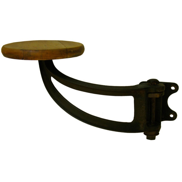 Cast Iron And Wood Machinist Swing Arm Stool At 1stdibs