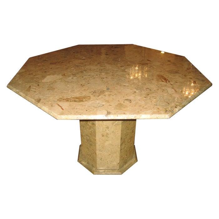 Sculptural Octagonal Pedestal Marble Dining Table At 1stdibs