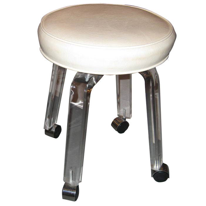 Lucite Rolling Vanity Chair at 1stdibs