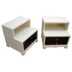 Two-Tone Pair of Low Bedside Tables after James Mont