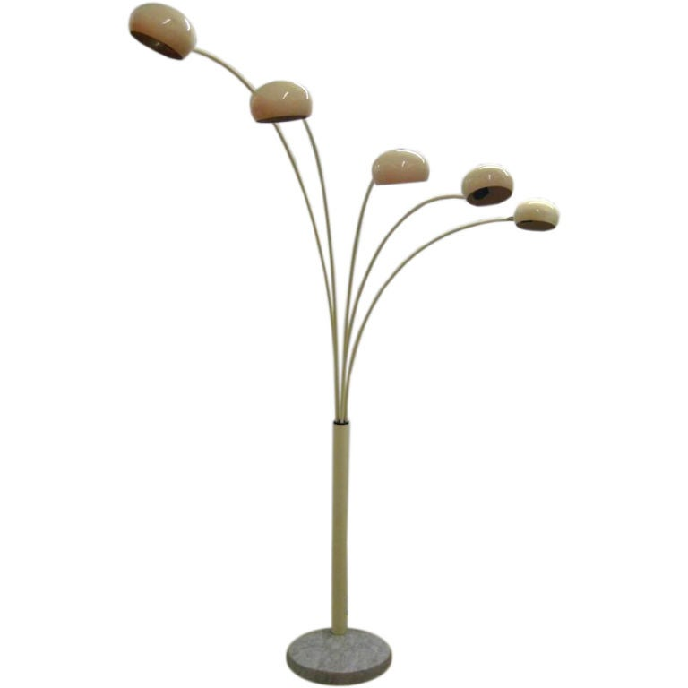 this exceptional 5 arm arc floor lamp in the manner of fontane arte is. Black Bedroom Furniture Sets. Home Design Ideas