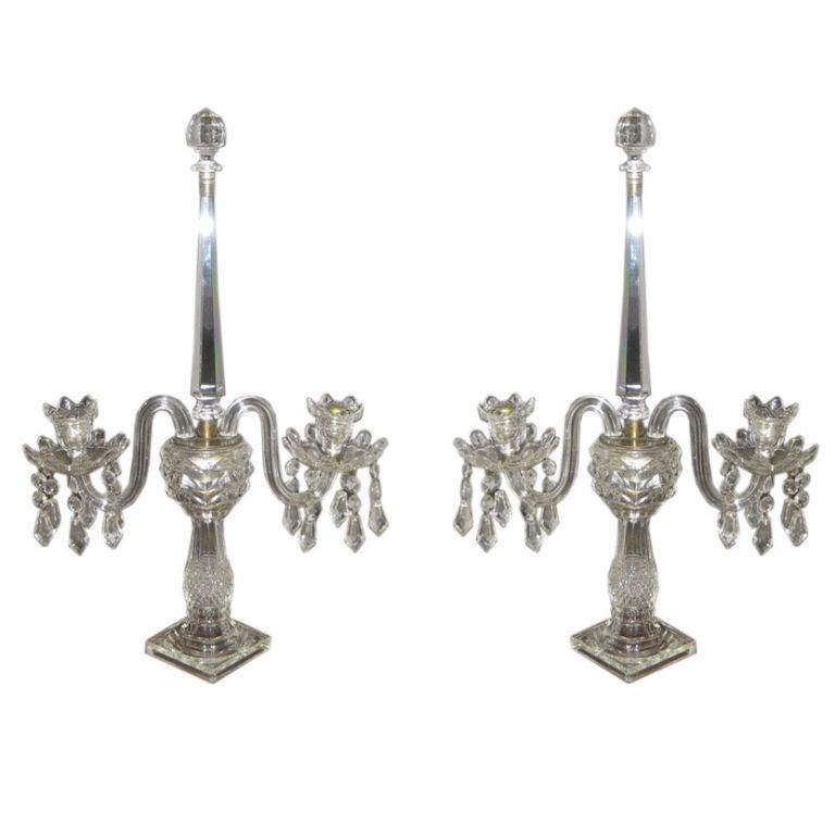 Pair of Hollywood Regency Crystal Candelabra