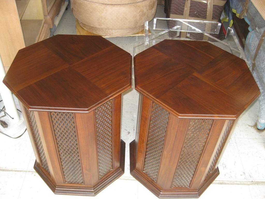 Pair Of Octagonal Speaker Bedside End Tables At 1stdibs