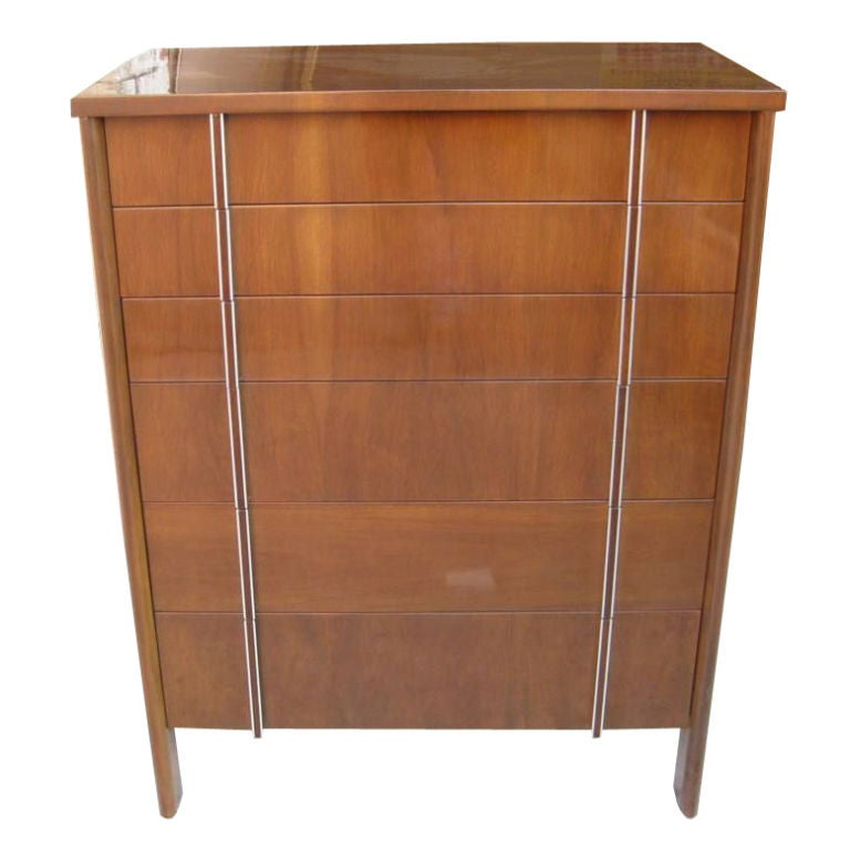 Tall John Widdicomb Chest of Six Drawers High Boy For Sale