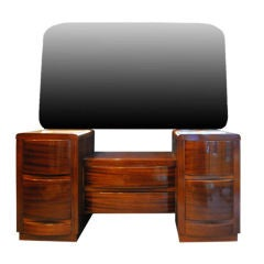 Streamline Art Deco Vanity with Mirror and Bench