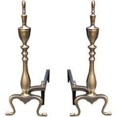 Pair of Traditional Spire Andirons in Satin Brass and Also in Nickel