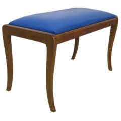 Curved Legs Blue Leather Bench