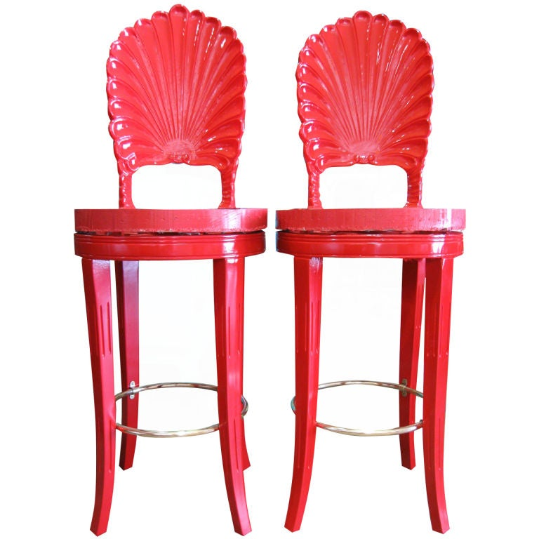 Pair Of Lacquered Grotto Inspired Bar Stools At 1stdibs