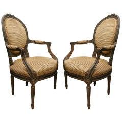 Pair of Louis XVI Beechwood Armchairs