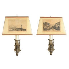 Pair of Neo-Gothic Sconces, Shades Decorated with Prints