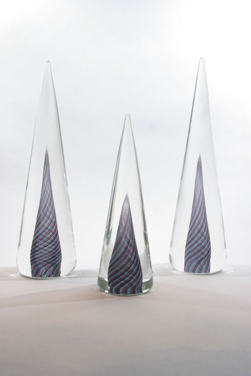 Set of Three Murano Glass Cone-Shaped Decorations by ...