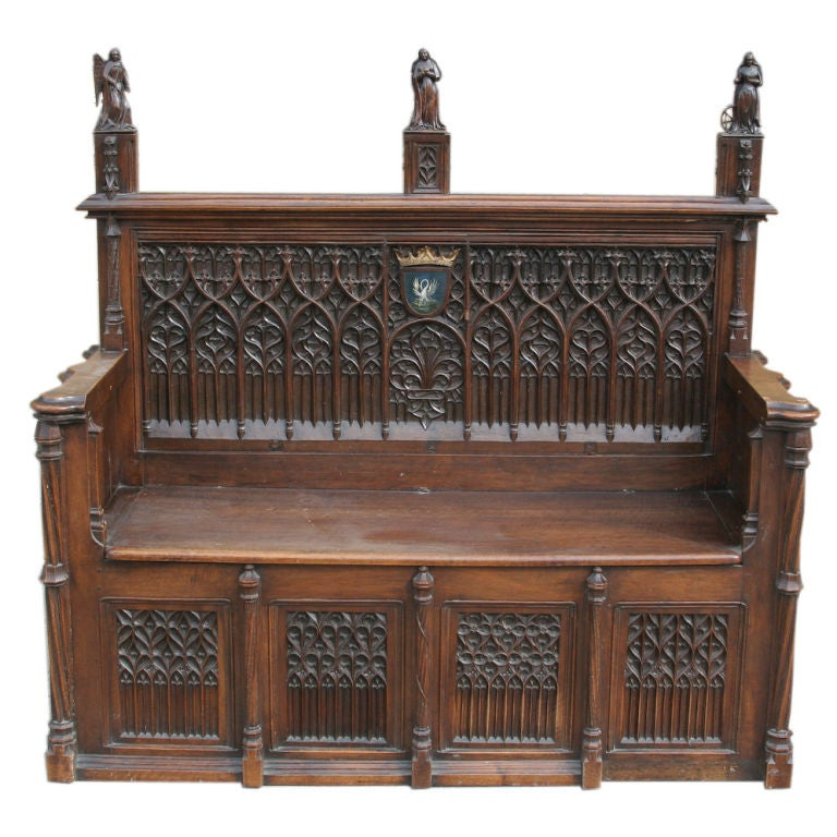 Finely Carved Walnut Gothic Revival Hall Bench At 1stdibs