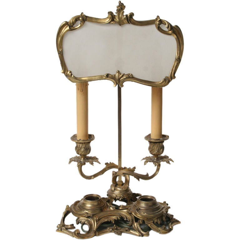 Finely Cast Louis XV Gilt Bronze Candlestick Lamp