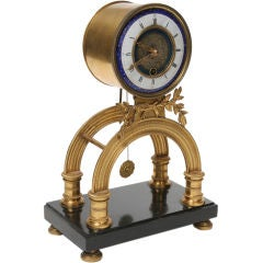 Rare Louis XVI Period Enamel and Gilt Bronze Clock