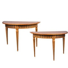 Beautiful Pair of Solid Olivewood Console Tables
