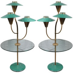 Pair of Painted Tole Glass and Brass lamp tables