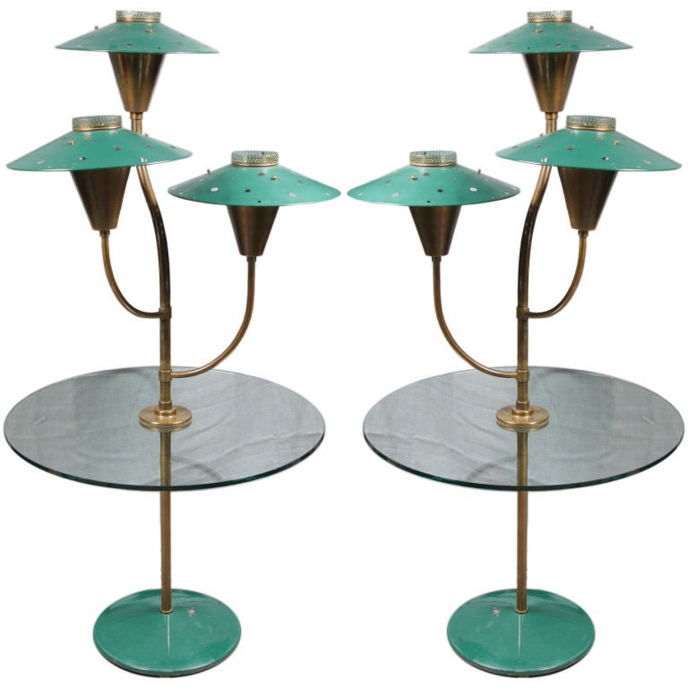 Pair of Painted Tole Glass and Brass lamp tables For Sale