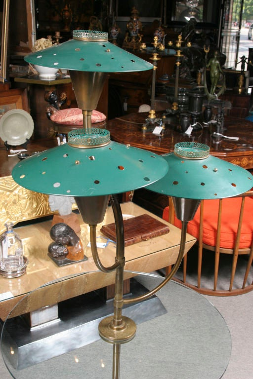 American Pair of Painted Tole Glass and Brass lamp tables For Sale