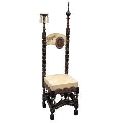Carlo Bugatti Walnut High Back Mosque Chair