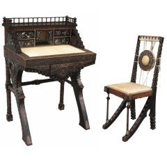 Carlo Bugatti Walnut Writing Desk With Chair