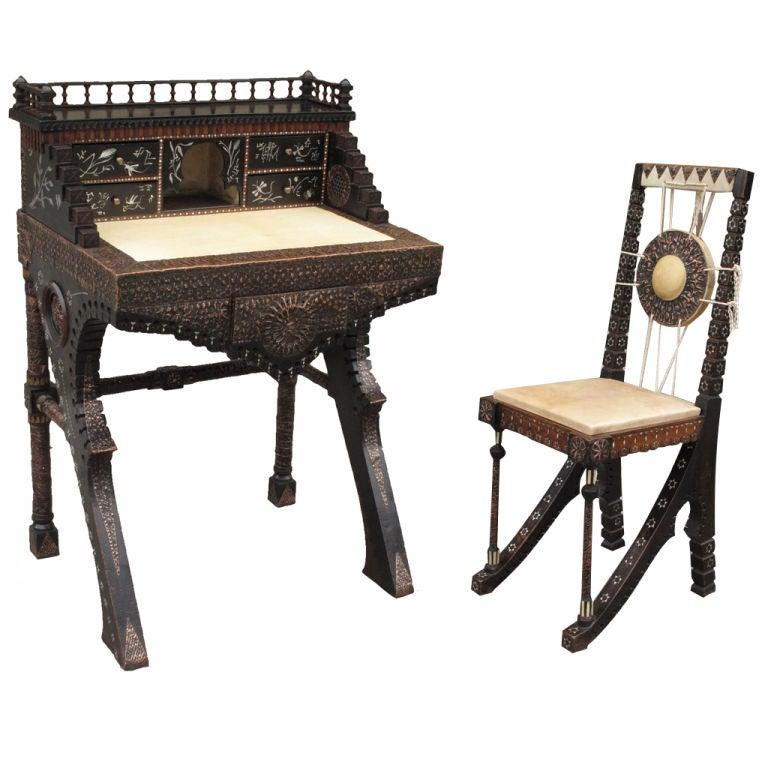 Carlo Bugatti Walnut Writing Desk With Chair