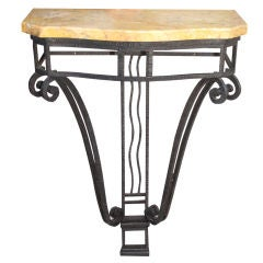 Art Deco Iron Console with Marble Top