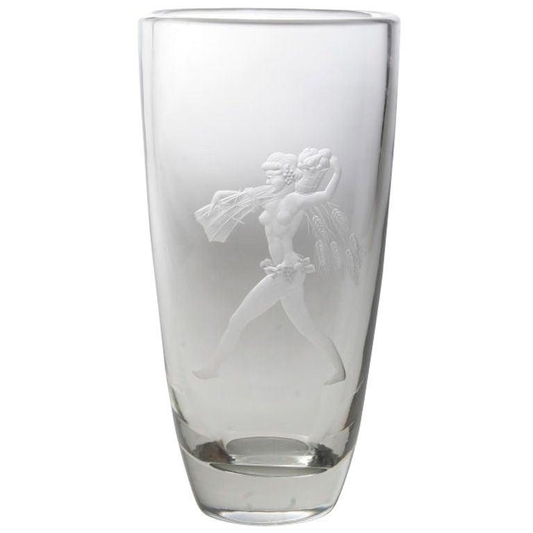 Art Deco Etched Glass Vase