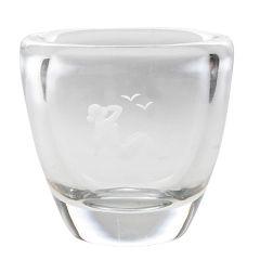 Orrefors Etched Glass Vase