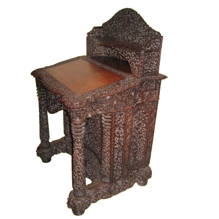 Anglo Indian Carved Teak Davenport At 1stdibs