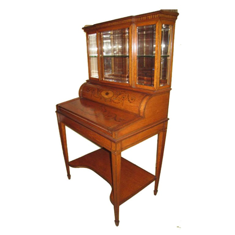 Edwardian Satinwood Lady's Display Cabinet-Cylinder Secretary