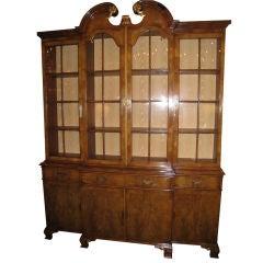Georgian Style Walnut Breakfront Bookcase on Cabinet