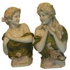 Pair of Art Nouveau Royal Dux Porcelain Figural Busts