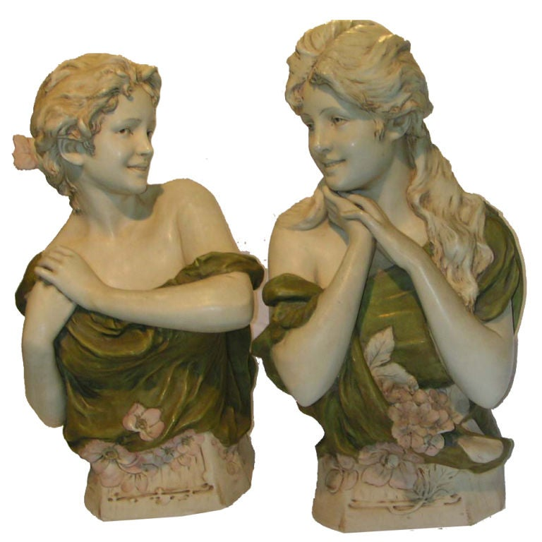 Pair of Art Nouveau Royal Dux Porcelain Figural Busts