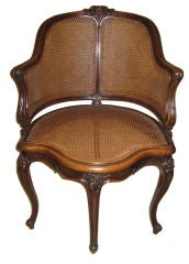 Louis XV Style Walnut and Cane Desk Chair