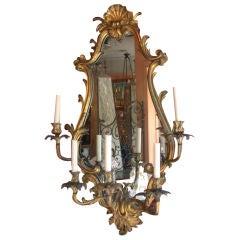 Louis XV Style Bronze Five-Light Girandole Mirror