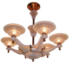 Art Deco Eight-Light Opalescent Glass and Copper mounted chandelier
