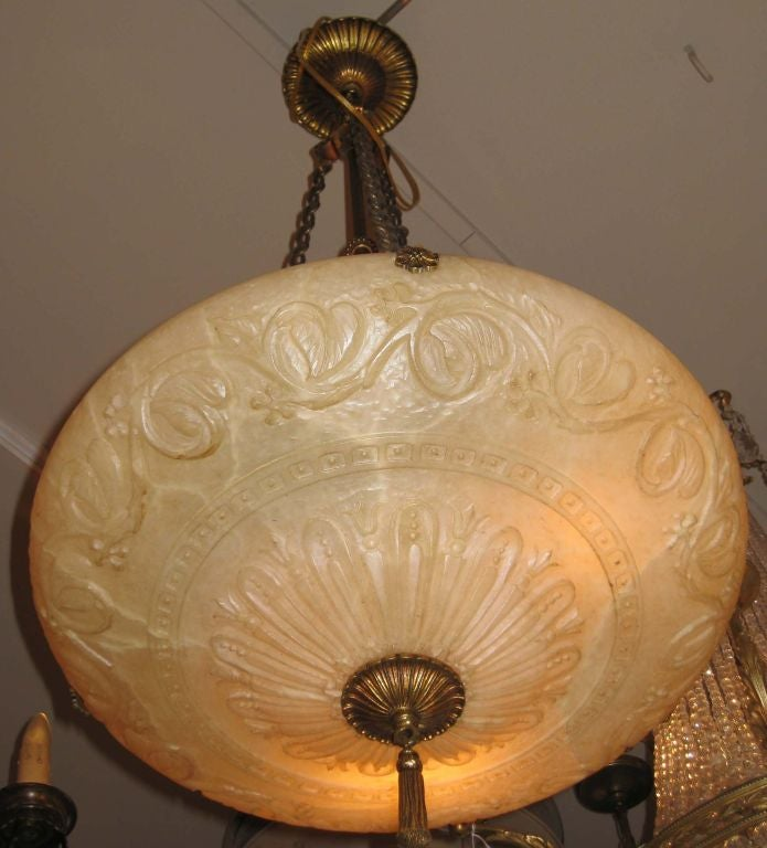 Alabaster Neoclassical Style Three Light Ceiling Pendant