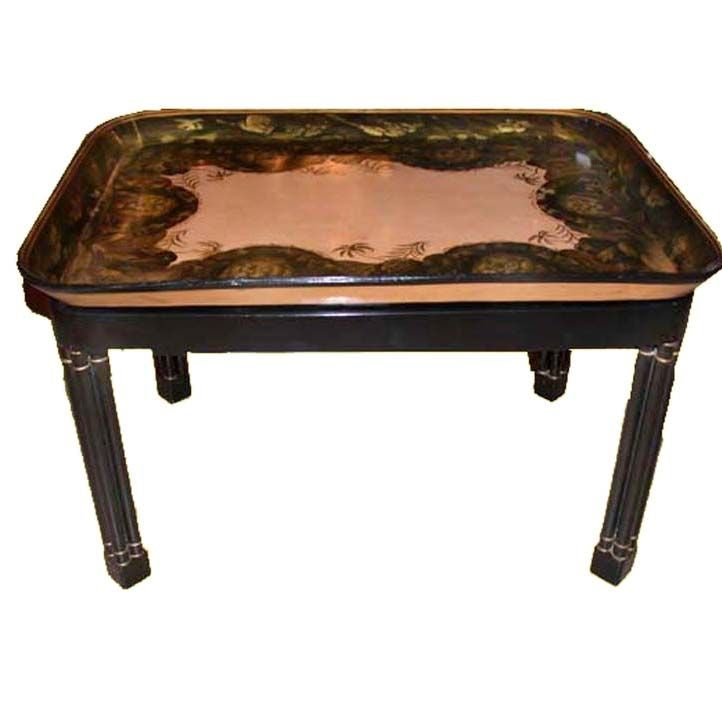 Victorian Papier Maché Tray on Stand